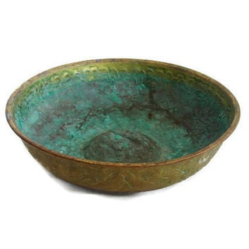 Massive patina verdigris Turkish BATH HOUSE bowl - EMBOSSED rustic vintage brass plated copper - Mideast home decor - Bathroom accessories
