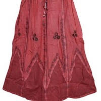 Women's Peasant Skirts Boho Gypsy Red Floral Embroidered Rayon Stonewashed Skirt