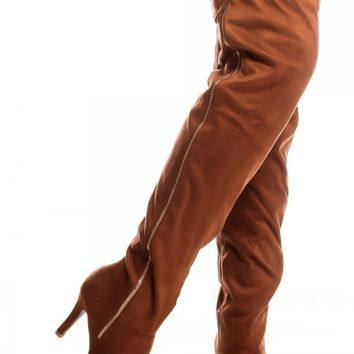 TAN FAUX SUEDE POINTED TOE ZIPPER OVER THE KNEE BOOT