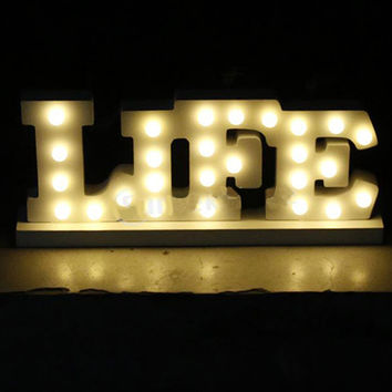 Wooden letter LED Marquee Sign Alphabet LIGHT UP night light Indoor WALL Decoration Wedding Party