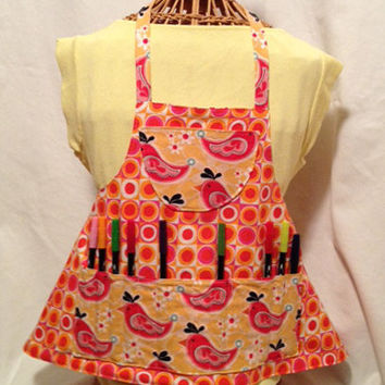 Reversible Child's Arts and Crafts Apron with Segmented Pockets -- Pink, Orange, Yellow Birds and Geometric Pattern -- Customizable