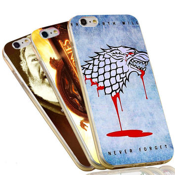 Jon Snow Wolf The Game of Thrones Flags Case For iPhone 4 4S 5C 5 5S SE 6 6S 7 Plus Soft TPU Phone Cover