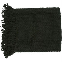 Woven Throw Blanket in Black from the Tobias Collection by Surya