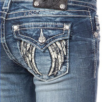 Miss Me MK 290 Tribal Angel Wings Boot Cut Jeans