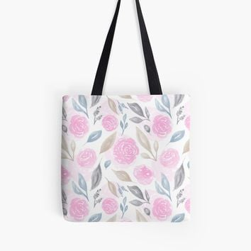 'Watercolor Flowers and Leaves' Tote Bag by stefiijuliette