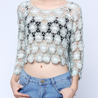'The Kelli' Floral Cut-Out Smock Embroidery Crochet T-shirt