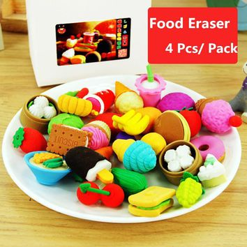 1 Pack Funny Cute Food Rubber Pencil Eraser Set Stationery Novelty Party High Quality Random Deliver School Supplies