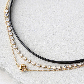 Shine for You Black and Gold Choker Necklace Set