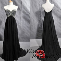Stunning hot sale black sweetheart A-line prom dress, sexy black prom dresses, Discount Formal Evening dresses, Silver beading corset, 9110