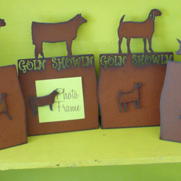 4H PIG HEIFER Goat Lamb Farm Animal Show Animal Photo picture frame made of Rusty Rustic Recycled Metal