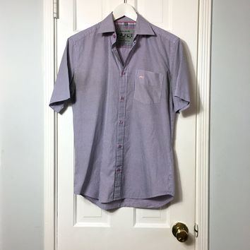Moods of Norway men's blue check button down short sleeve shirt sz S