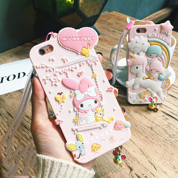 Fashion 3D My Melody Unicorn Cartoon Dust Plug Funda Phone Cases For Coque Iphone 6 6s 6plus 6splus 7 7plus Silicon Capa Para