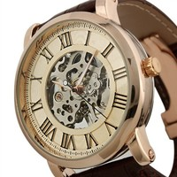 ESS Rose Golden Skeleton Hand-winding Mechancial Brown Leather Wrist Watch Classic Mens Man WM273-ESS