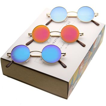 Small Retro Round Lennon Inspired Mirrored Lens Sunglasses A970 [3 Pack]