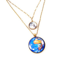 Earth and Moon Planet Necklace, Statement Necklace, Pendant Necklace, Science Jewelry