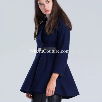 Women Navy Lapel Belt Waist Pleated Woolen Coat Peplum Long Sleeve Plus Size Outerwear Autumn Winter AD22