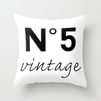 No 5 vintage Throw Pillow by Art.style.designs