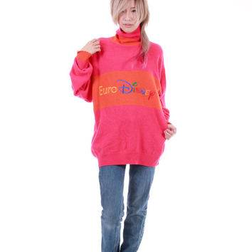 Euro Disney Hot Pink+Orange Club Kid Hipster Clothing 90s Vintage Slouchy Overiszed Sweater Jumper Made in Italy Unisex Medium Large XL