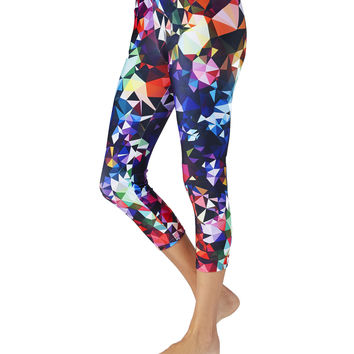Capri Yoga Pants - Workout Leggings in Geometric Print