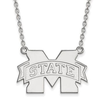 NCAA 14k White Gold Mississippi State Large M State Pendant Necklace
