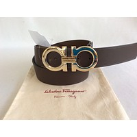 NWT SALVATORE FERRAGAMO BELT Brown DOUBLE GANCINI BUCKLE SZ 36 Adjustable !$440