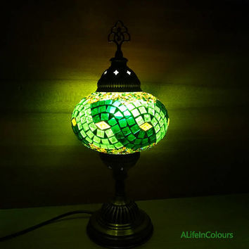 Turkish unique handmade green colourful decorative glass mosaic table lamp, bedside night lamp, bedroom night lamp, kid's room lamp.