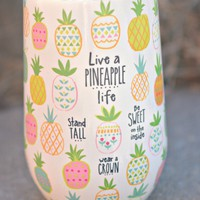 Natural Life Wine Tumbler - Pineapple Life