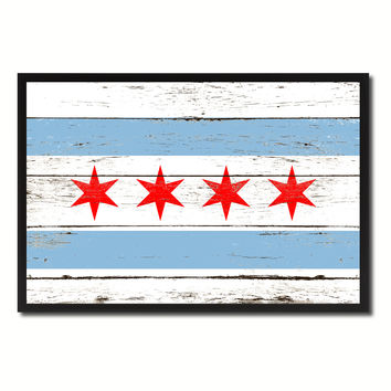 Chicago City Illinois State Flag Vintage Canvas Print with Black Picture Frame Home Decor Wall Art Collectible Decoration Artwork Gifts
