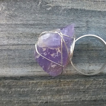 Rough Amethyst Ring || Mineral Ring || Wire Wrapped Ring || Rock Ring || Healing Jewelry || Raw Amethyst Stone