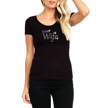 RHINESTONES   Lucky Wife   Scoop Neck T-Shirt