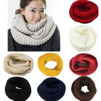 Winter Warm Men Women Infinity 2 Circle Cable Knit Cowl Neck Long Scarf Shawl = 1957996548
