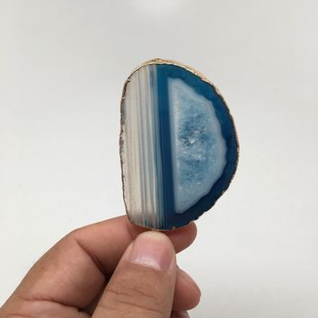 103.5 cts Blue Agate Druzy Slice Geode Pendant Gold Plated From Brazil, Bp1045