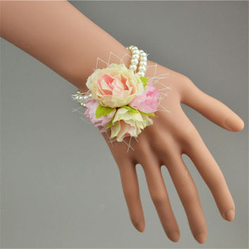 Wedding Decoration Bridesmaid Pearl Wrist Corsage Artifical Rose Decorative Flowers Event&Party Supplies Decoracao De Casamento
