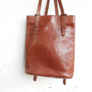 Vintage Leather Bag LANCHAS PARIS Leather Backpack / Small