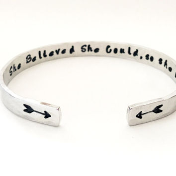 Personalized Arrow Bracelet, She Believed She Could, So She Did, Hand Stamped Cuff Bracelet, Customizable