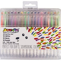 Gel Pens | Dazzle 36 Color Gel Pen Set | Glitter, Neon & Pastel Assortment | Perfect for Grown-ups & Kids | Premium Quality | Ideal for Adult Coloring Books, Scrapbooking & Gifts | Convenient Case