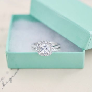 Wedding Ring Set - Cushion Cut Ring - Sterling Silver Ring - Engagement Ring - Halo Engagement Ring - 1 Carat