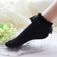 girl women soft Lace Ruffle Frilly Ankle Socks Ladies Princess Girl Fashion Gift