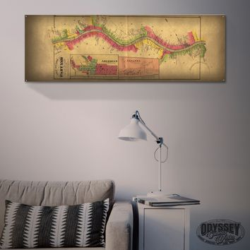 """Ohio River Map - Maysville - Levanna"" 1'x3' Metal Sign Decor"