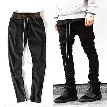 NEW Hip Hop Men Ankle Zipper Pants Justin Bieber Kanye West Drop Crotch Punk Pants Cotton Rap Mens Black Joggers Pants