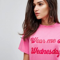 Daisy Street T-Shirt With Wednesdays Print at asos.com