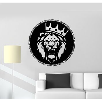 Vinyl Wall Decal Circle Lion King Predator Head Crown Animal Stickers Mural (g1531)