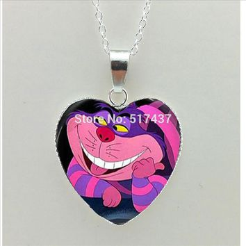 HT--00527 New Steampunk   Heart Necklace Alice in wonderland Heart Jewelry Silver Heart Necklace HZ3