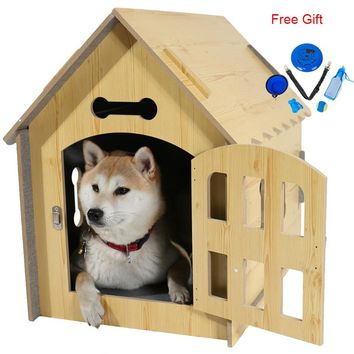 Dog House Luxury Fashion Natural Wood Double-sided Breathable Collapsible Durable Indoors Travel Pet Bed For Cat Dog Cage