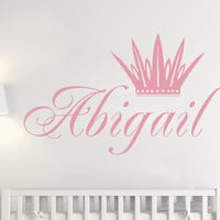 Crown Wall Decals Custom Personalized Name Princess Vinyl Nursery Sticker SM184