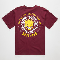 Spitfire Keeping The Underground Lit Mens T-Shirt Burgundy  In Sizes
