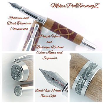 Custom Wooden Pen Fountain Pen Beautiful Purple Heart and Bastogne Walnut Celtic Knots Rhodium and Black Titanium Hardware 809FPA