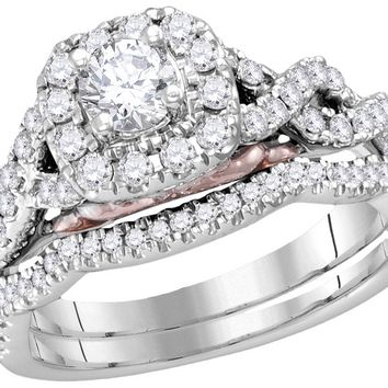 14k White Gold Womens Round Diamond Bellissimo Bridal Wedding Infinity Ring Band Set 1.00 Cttw (Certified)