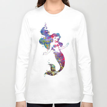 Little Mermaid Watercolor Long Sleeve T-shirt by Bitter Moon