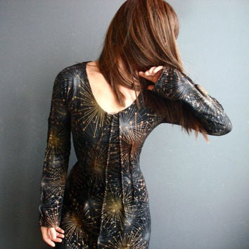 Guitar Sounds - iheartfink Handmade Hand Printed Womens Long Sleeve Black Metallic Starburst Wearable Art Long Sleeves Jersey Dress